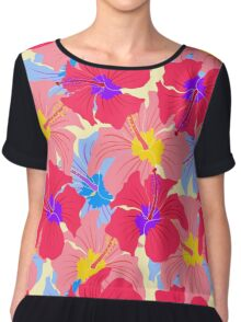 pattern with hibiscus  Chiffon Top