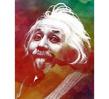 Albert Einstein dot watercolour portrait Photographic Print