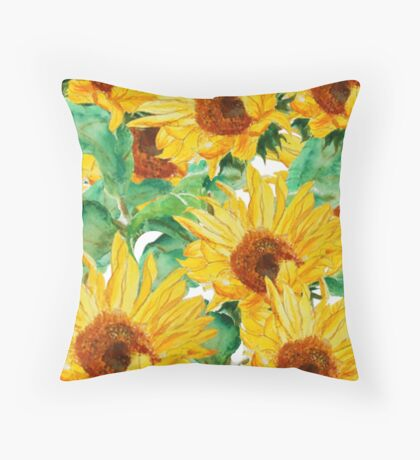 sunflower pattern Throw Pillow