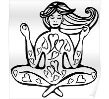 Yoga girl hand drawn print Poster