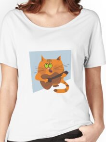 Cat playing guitar Women's Relaxed Fit T-Shirt