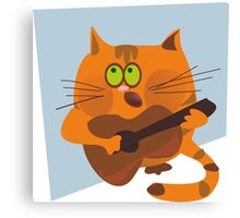 Cat playing guitar Canvas Print