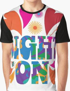 Sixties style mod pop art psychedelic colorful Right On text design. Graphic T-Shirt
