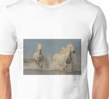 Three Camargue mares racing through the water Unisex T-Shirt