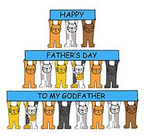 Cats wishing Godfather Happy Father's Day by KateTaylor