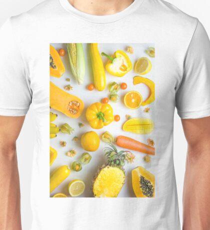 Yellow food on white Unisex T-Shirt