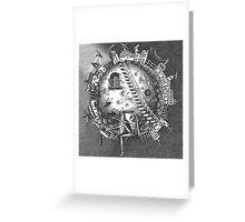 Alien on the moon Greeting Card