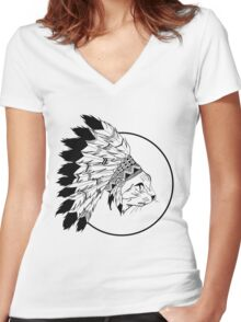 The Tribe Cat Women's Fitted V-Neck T-Shirt