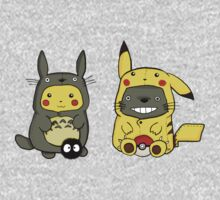 Totoro and Pikachu One Piece - Short Sleeve