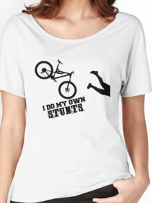 I Do My Own Stunts Funny Mountain Bike Women's Relaxed Fit T-Shirt