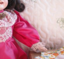 Antique Doll with her Sewing machine Sticker