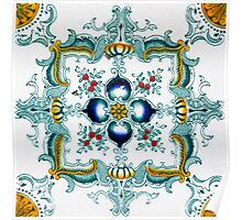 Victorian Wall Tiles Pattern Poster