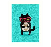 Coffee Cat and Doodles Art Print