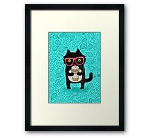 Coffee Cat and Doodles Framed Print