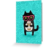 Coffee Cat and Doodles Greeting Card