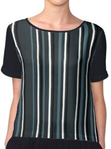 dark blue striped pattern Chiffon Top