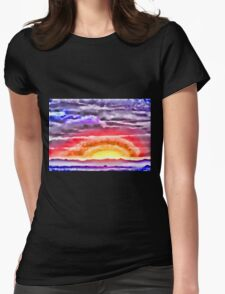 Abstract Sunset Womens Fitted T-Shirt