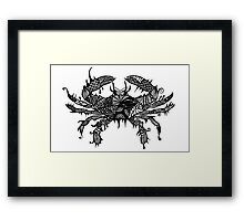Crab #2 Black and White Doodle Art Framed Print