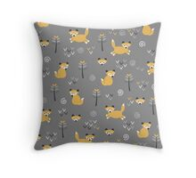 Foxy Grey Throw Pillow