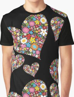Whimsical Spring Flowers Valentine Hearts Trio Graphic T-Shirt