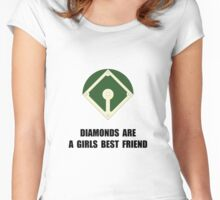 Diamonds Baseball Women's Fitted Scoop T-Shirt