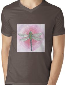 Blue and Green Dragonfly on Pink Background Mens V-Neck T-Shirt