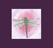 Blue and Green Dragonfly on Pink Background Unisex T-Shirt