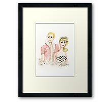 Ken & Barbie Watercolor Vintage Dolls Framed Print
