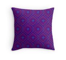 Deep Purple and Blue Traditional Ogee Pattern Throw Pillow