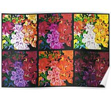 Six Panels of Flowers Poster
