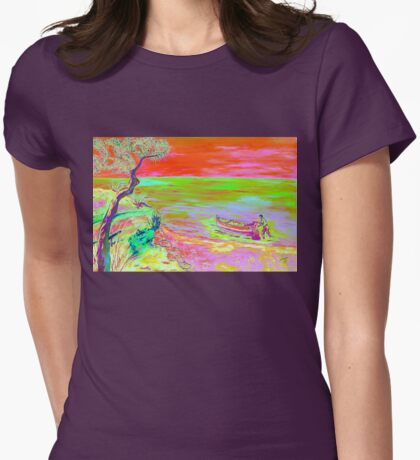 Cliff view. Womens Fitted T-Shirt
