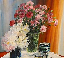 Coffee with carnations. by Beatrice Cloake Pasquier