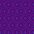 Deep Purple and Blue Traditional Ogee Pattern by Judy Adamson