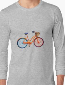 Old bicycle on lilac grey ground Long Sleeve T-Shirt