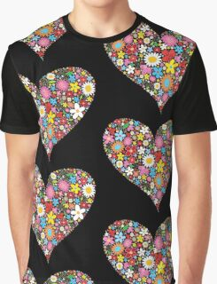Spring Flowers Valentine Heart Graphic T-Shirt