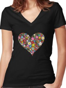 Spring Flowers Valentine Heart Women's Fitted V-Neck T-Shirt