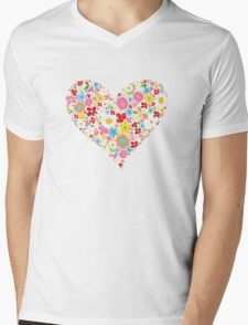 Spring Flowers Valentine Heart Mens V-Neck T-Shirt