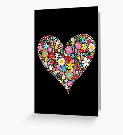 Spring Flowers Valentine Heart Greeting Card