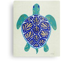 Sea Turtle – Navy & Gold Metal Print