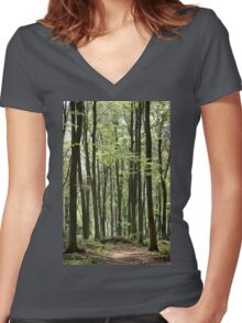 Path Through The Wood Women's Fitted V-Neck T-Shirt