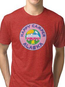 HAPPY CAMPER ALASKA CAMPING PEACE VOLKSWAGEN HIPPIE LOVE Tri-blend T-Shirt