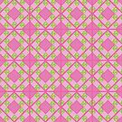 Primroses and Pink Check Gingham Faux Patchwork by Judy Adamson