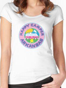 HAPPY CAMPER ARKANSAS CAMPING PEACE VOLKSWAGEN HIPPIE LOVE Women's Fitted Scoop T-Shirt