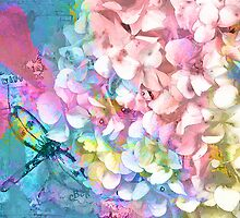 Soft Hydrangea and Dragonfly by ClaireBull