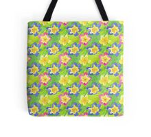 Pretty Spring Primroses Pattern Tote Bag