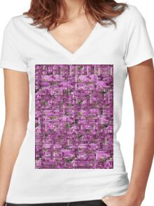 Purple flowers in Glass Women's Fitted V-Neck T-Shirt