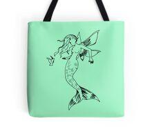 Mythical Winged Mermaid Tote Bag