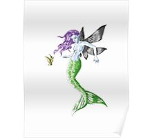 Colourful Mythical Winged Mermaid Poster