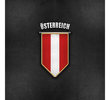 Austria Pennant with high quality leather look Photographic Print