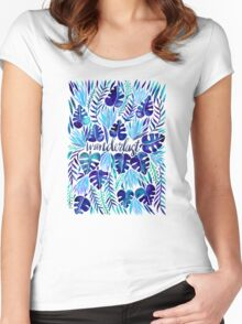 Tropical Wanderlust – Blue Women's Fitted Scoop T-Shirt